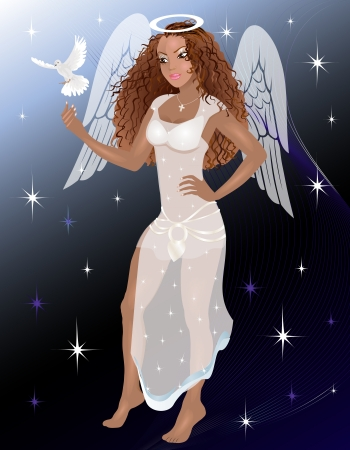 christian halloween: Vector Illustration of an Angel with a dove.