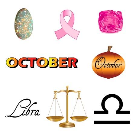 Vector Illustration von acht Oktober Icons darunter birthstones, Feiertage und Tierkreiszeichen. Standard-Bild - 16064157