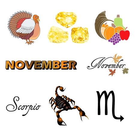 birthstone: Vector Illustration of eight November Icons including birthstones, holidays and zodiac symbols.