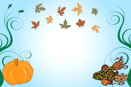Illustration of a Thanksgiving Background with pumpkin and corn.