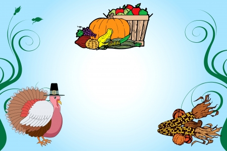 Illustration of a Thanksgiving Turkey Background with fruit basket and corn. Vector