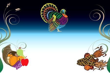 Illustration of a Thanksgiving Background with Turkey, Pumpkin and Corn. Vector