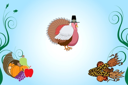 Illustration of a Thanksgiving Turkey Background with pumpkin and corn. Vector