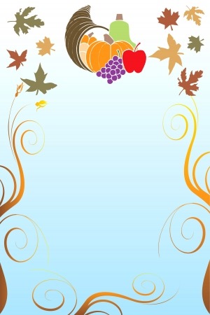 Illustration of a Thanksgiving Background with harvest vegetables. Stock Vector - 16386132