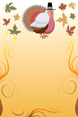 Illustration of a Thanksgiving Turkey Pilgrim Background with harvest vegetables. Vector