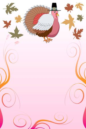 Illustration of a Thanksgiving Background with Thanksgiving Turkey and pink background. Vector