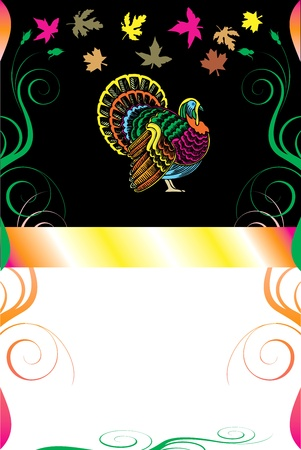 Illustration of a Thanksgiving Background with Thanksgiving Turkey. Иллюстрация