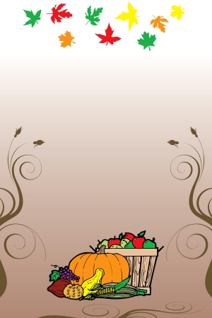 Illustration for Thanksgiving Fruit Vegetable Card and Fall Autumn Leaves. Stock Vector - 16386133