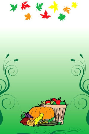 Illustration for Thanksgiving Fruit Vegetable Card and Fall Autumn Leaves. Vector