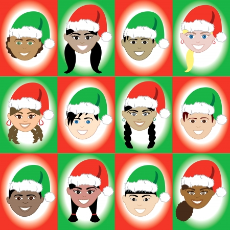 Vector Illustration of 12 kids of different ethnic backgrounds for the Holidays. Vector