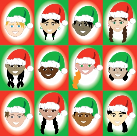 ponytails: Vector Illustration of 12 kids of different ethnic backgrounds for the Holidays. Illustration