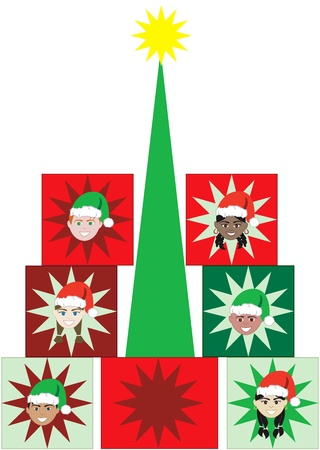 ponytails: Vector Illustration of 6 kids faces in a Present Christmas Tree.