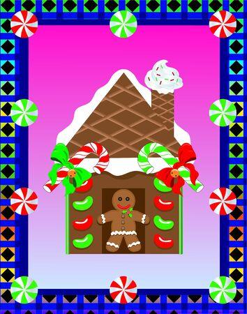 Gingerbread house 3 向量圖像