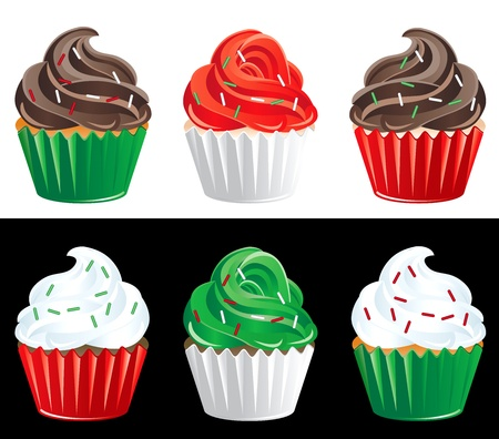 Vector Illustration of 6 Christmas Colored Cupcakes. Vector