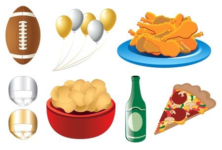 Illustratie van 8 voetbal superbowl geïsoleerd sport iconen. Verkrijgbaar in andere versies.
