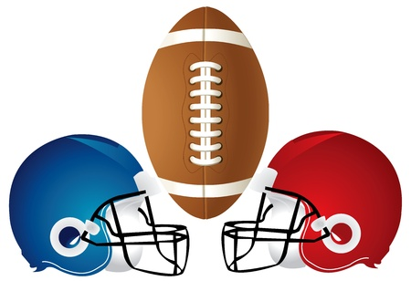 Illustration of a football design with helmets.