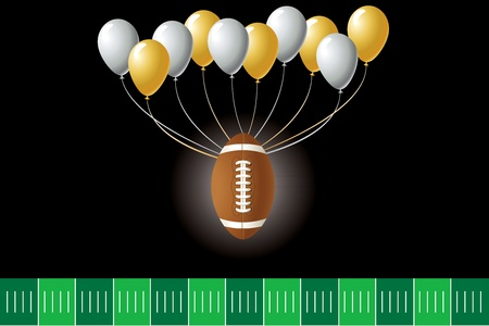 super bowl: Illustration of a football design with party balloons and yard line.  Illustration