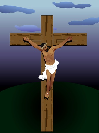 wooden cross: Vector Illustration of Jesus Christ on cross. Hair of wool, skin of bronze and crown of thorns.
