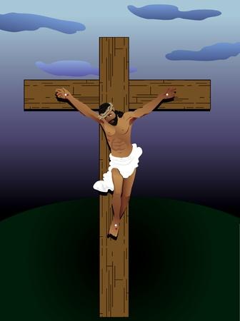 black jesus: Vector Illustration of Jesus Christ on cross. Hair of wool, skin of bronze and crown of thorns.