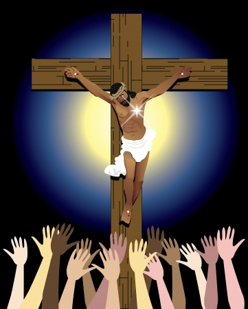 asian and indian ethnicities: Vector Illustration showing the power of the holy spirit, Jesus Christ on cross. Easter Resurrection Illustration