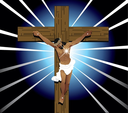 Vector Illustration of Jesus Christ on cross. Easter Resurrection. Vector