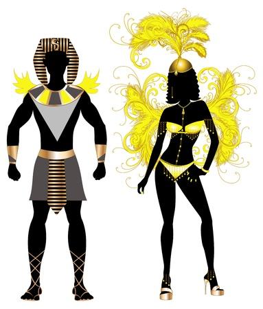 カーニバル衣装シルエット、男性と女性のためのベクトル イラスト エジプト カップル。