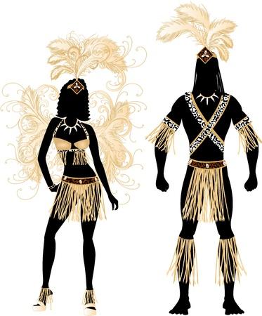 caribbean party: Vector Ilustraci�n Zulu Pareja de Carnaval Siluetas del traje con un hombre y una mujer.