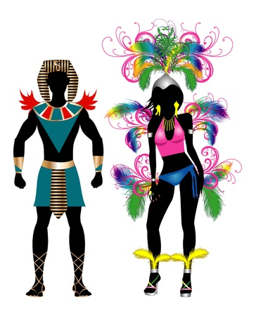 Vector Illustration Colorful Couple for Carnival Costume Silhouettes with a man and a woman. Çizim