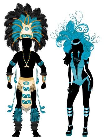 donna spagnola: Illustrazione vettoriale blu coppia di Carnevale Sagome costume con un uomo e una donna.