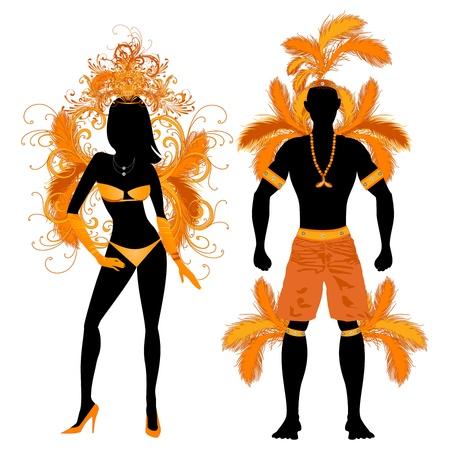 男と女とカーニバル衣装シルエットのベクトル イラスト オレンジ カップル。  イラスト・ベクター素材