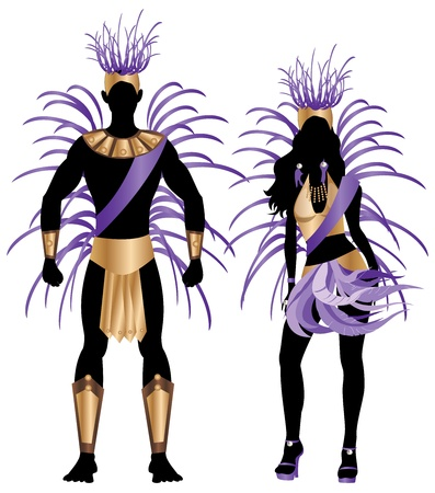 carnival costume: Vector Illustration Blue Couple for Carnival Costume Silhouettes with a man and a woman.
