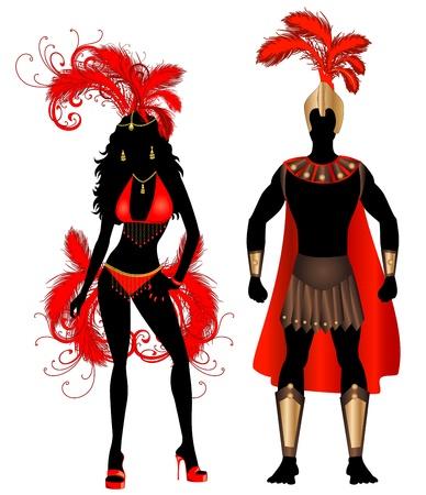 carnival girl: Ilustraci�n vectorial Pareja de Carnaval rojo Siluetas disfraces con un hombre y una mujer.