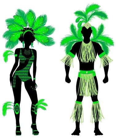 男と女とカーニバル グリーン コスチューム シルエットのベクトル イラスト カップル。