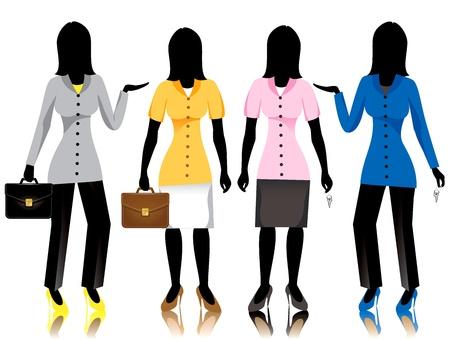biracial: Career business women in suits. Vector Illustration.