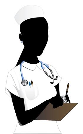 Vector Illustration of an Asian woman Nurse 2. Vector