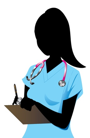 Vector Illustration of a Blond woman Nurse 1.