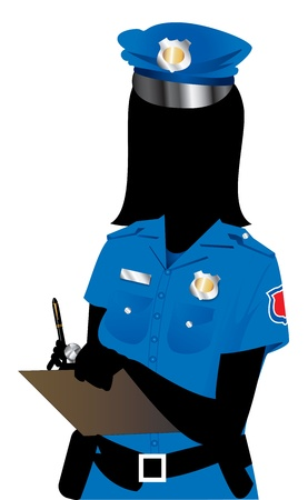african woman at work: Vector Illustration of a Police Woman 1. Illustration