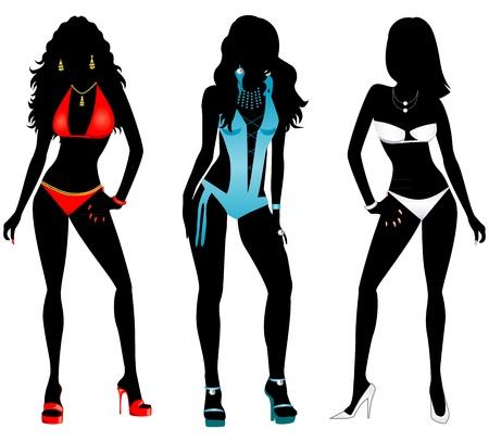 Ilustración vectorial de tres mujeres diferentes siluetas en traje de baño bikini y trajes de baño monokini. Ilustración de vector