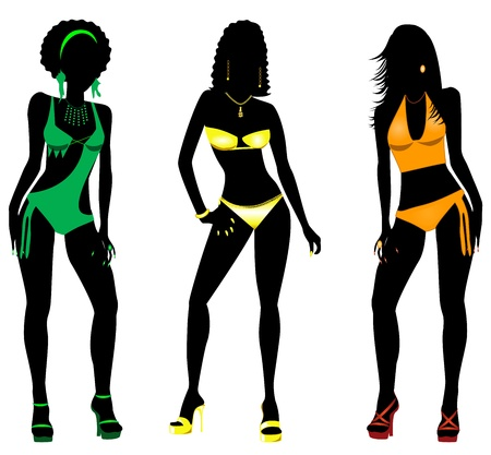Vector Illustration of three different swimsuit silhouette women in bikini, tankini and monokini swimwear. Иллюстрация