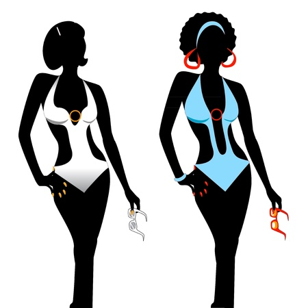 Vector illustration of two women silhouettes in monokini swimsuits.
