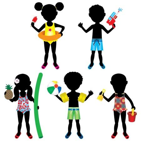 Vector Illustration of 5 different summer kids dressed for beach or pool. Illustration