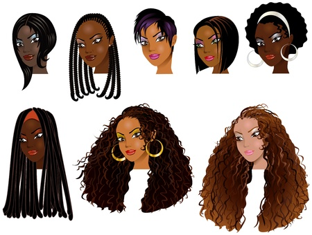 Vector Illustration of Black Women Faces. Great for avatars, makeup, skin tones or hair styles of African women.  イラスト・ベクター素材