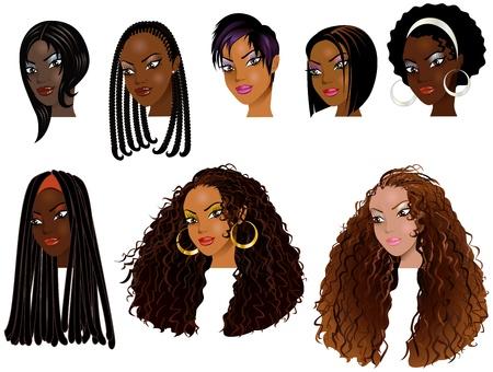 흑인 여성의 벡터 일러스트 레이 션의 얼굴. 아바타, 메이크업, 피부 색조 또는 아프리카 여자의 머리 스타일. 일러스트