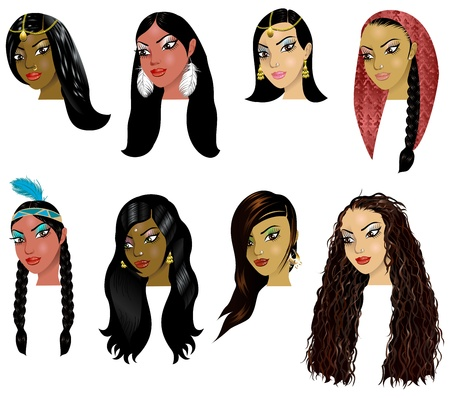 Vector Illustration of Indian, Arab and Native American Women Faces. Great for avatars, makeup, skin tones or hair styles of various women. Vector