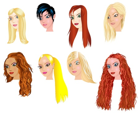 Vector Illustration of White Women Faces 2. Great for avatars, makeup, skin tones or hair styles of Caucasian women. Vector