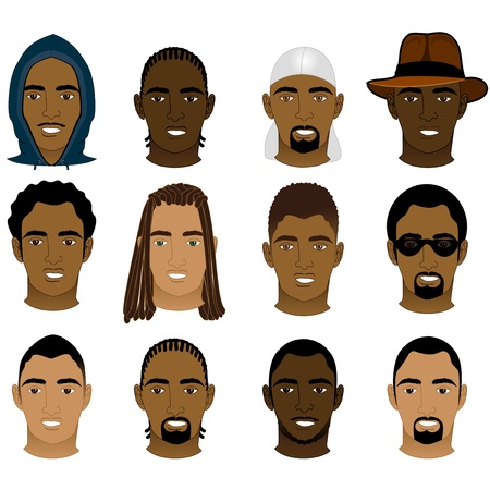 Illustration of 12 different Black and Mixed Men Faces