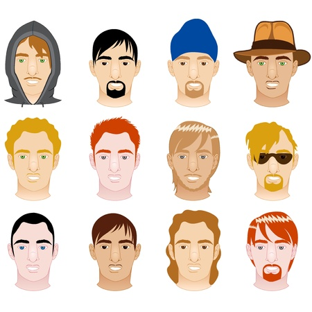 black hair blue eyes: Vector Illustration of 12 different White and Mixed Men Faces