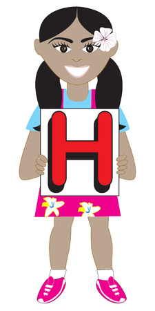 ponytails: Alphabet Kids available as a Vector or Raster Illustration Illustration