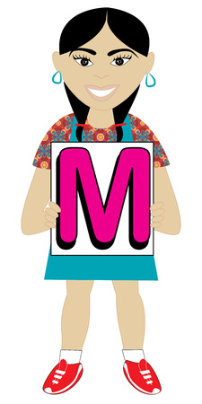 child holding sign: Alphabet Kids available as a Vector or Raster Illustration Illustration