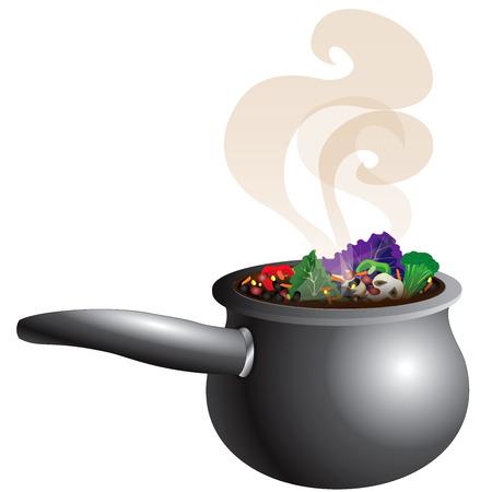 땅딸막 한 야채 수프 냄비의 그림 연기 김.